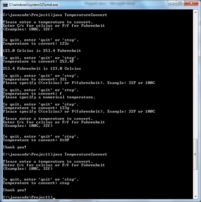 Java Project Temperature Conversion